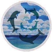 Dolphin Cloud Dance Round Beach Towel