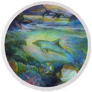 Dolphin Fantasy Round Beach Towel by Denise Fulmer