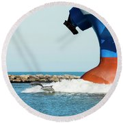 Dolphin Guides Round Beach Towel