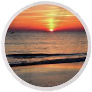 Dolphin Jumping In The Sunrise Round Beach Towel