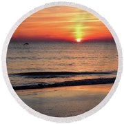 Round Beach Towel featuring the photograph Dolphin Jumping In The Sunrise by Nicole Lloyd