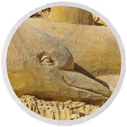 Dolphin Sand Castle Sculpture On The Beach 799 Round Beach Towel