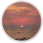 Dolphin Swims At Sunrise Round Beach Towel