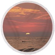 Round Beach Towel featuring the photograph Dolphin Swims At Sunrise by Robert Banach