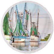 Dolphin Tail - Docked Shrimp Boats Round Beach Towel