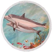 Dolphin Tales Round Beach Towel