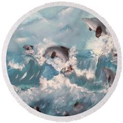 Dolphins At Play Round Beach Towel