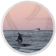 Round Beach Towel featuring the photograph Dolphins At Play by Robert Banach
