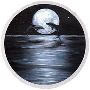Dolphins Dancing Full Moon Round Beach Towel