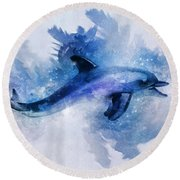 Dolphins Freedom Round Beach Towel