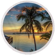Round Beach Towel featuring the photograph Dolphins In San Carlos Bay by Steven Sparks