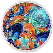 Dolphins Playing In Peonies Round Beach Towel