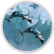 Dolphins Playing In The Waves Round Beach Towel
