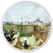 Dome Of The Rock In The Background Round Beach Towel by Munir Alawi
