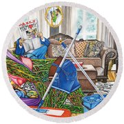 Domestic Abuse Round Beach Towel