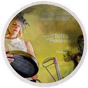 Domestic Considerations Same Old Round Beach Towel by Ann Tracy