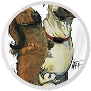 Dominguez Snickers And Buddy Round Beach Towel