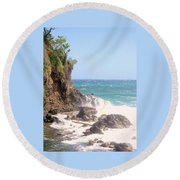 Round Beach Towel featuring the photograph Dominica North Atlantic Coast by Ian  MacDonald