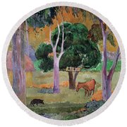 Dominican Landscape Round Beach Towel by Paul Gauguin