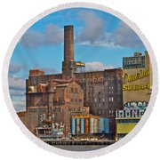 Domino Sugar Water View Round Beach Towel