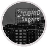 Domino Sugars Sign Round Beach Towel