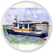 Don And Kathys Boat Round Beach Towel