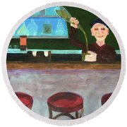 Round Beach Towel featuring the painting Don At Tres Gringos Bartending by Donald J Ryker III