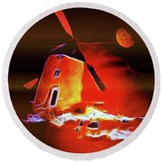 Round Beach Towel featuring the painting Don Quixote And Sancho Panza by Valerie Anne Kelly