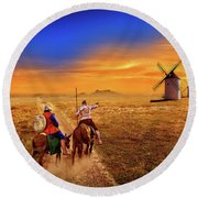 Don Quixote And The Windmills Round Beach Towel