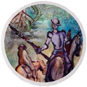 Don Quixote With Dragon Round Beach Towel