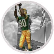 Round Beach Towel featuring the photograph Donald Driver Statue by Joel Witmeyer