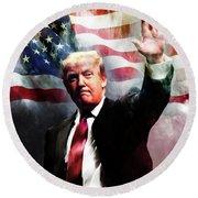 Donald Trump 01 Round Beach Towel