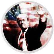 Donald Trump 01a Round Beach Towel