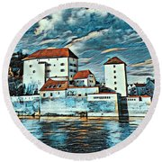 Donau, Passau, Germany Round Beach Towel