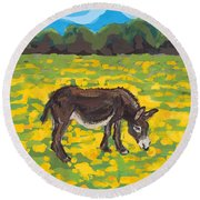 Donkey And Buttercup Field Round Beach Towel