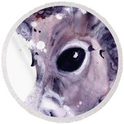 Round Beach Towel featuring the painting Donkey by Dawn Derman