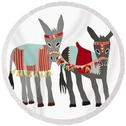Donkeys Round Beach Towel by Isoebl Barber