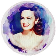 Donna Reed, Hollywood Legend Round Beach Towel
