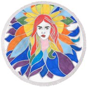Donna Soul Portrait Round Beach Towel