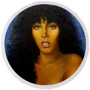 Donna Summers Round Beach Towel by Loxi Sibley