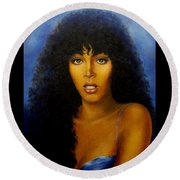Round Beach Towel featuring the painting Donna Summers by Loxi Sibley