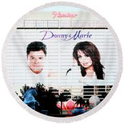Donny And Marie Osmond Large Ad On Hotel Round Beach Towel