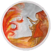 Round Beach Towel featuring the painting Don't Be Afraid by Gioia Albano