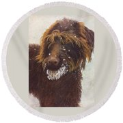 Round Beach Towel featuring the painting Don't Eat The Snow by Nancy Jolley