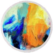 Round Beach Towel featuring the painting Don't Look Down by Dominic Piperata