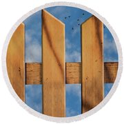 Round Beach Towel featuring the photograph Don't Take A Fence by Paul Wear