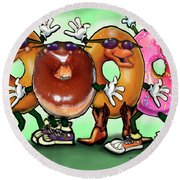 Donut Party Round Beach Towel