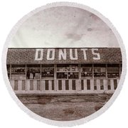 Donut Shop No Longer, Vintage, Niceville, Florida Round Beach Towel