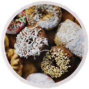 Donuts Round Beach Towel