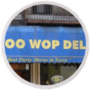 Round Beach Towel featuring the photograph Doo Wop Deli by Cole Thompson